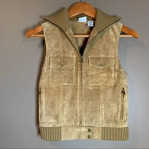 East side Westside leather and wool vest